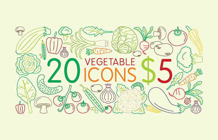 Icons vegetable
